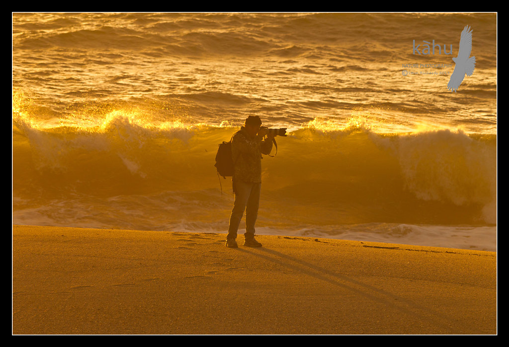 Photographer in sunset at Kokatahi, Westcoast  SS16
