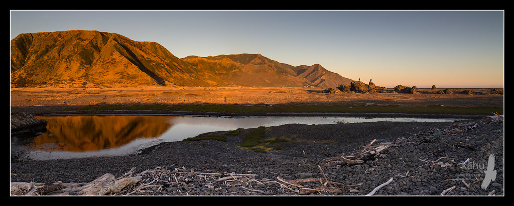 Evening sun on the hills behind Ngawi, Palliser Bay.  P14